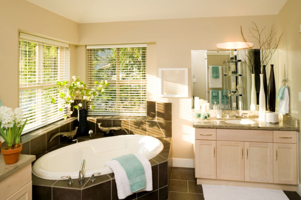 good corner bath in natural bathroom design  Innovative Tips To Make Your  Bathroom Look Good. How To Bath In Bathroom
